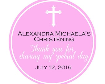 "Custom Christening Labels -  Baptismal Labels - Thank You - Christening Favor - Confirmation -Choose colors - 1.5"", 2"" or  2.5"" round labels"