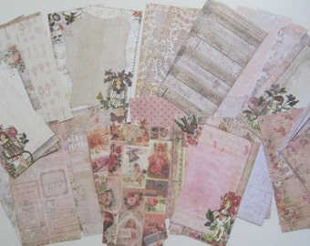 Lot of 32 Cardstock Journal Cards Project Life Scrap Pack Smash Book 3x6 Shabby Theme