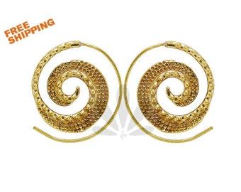 Hammerd spiral earrings- Tribal jewelry- Carved earrings- Engraves earrings- Spiral jewelry.