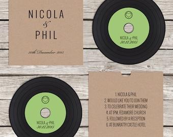 CD 'vinyl' wedding invitation