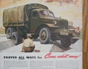 A38 Vintage 1941 International Truck military truck Retro 1940s advertising Life magazine ad mechanic gift gas station decor trucker gift