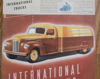 A39 Vintage 1941 International Truck flat bed truck Retro 1940s advertising Life magazine ad mechanic gift gas station decor trucker gift