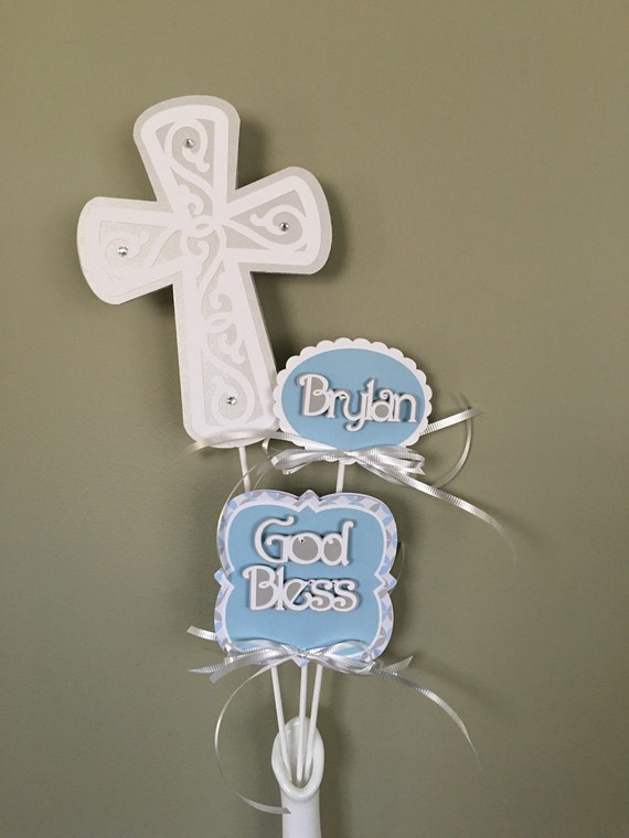 First Communion Picks, Baptism, Christening Decorative Stick, Personalized Centerpiece, Centerpiece Pick, Baby Name, God Bless, Cross picks