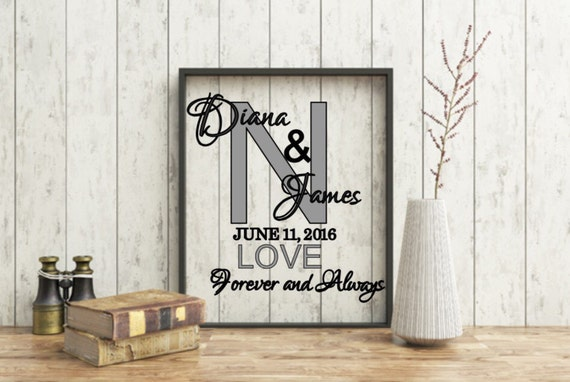 Personalized Initial Forever and Always, Customized Wedding Frame, Anniversary Gift, 8x10 Monogram Floating Frame, Last Name, Family Name