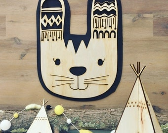 Tribal boho rabbit plywood wall hanging - monochrome bohmemian, black, wood nursery piece. Animal art for kids rooms