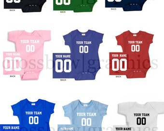 CUSTOM Infant Creeper Bodysuit Jersey PERSONALIZED One-piece Baby Cute Football Baseball Softball!
