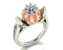 Cinderella Ring - Diamonds with 14k white and rose gold