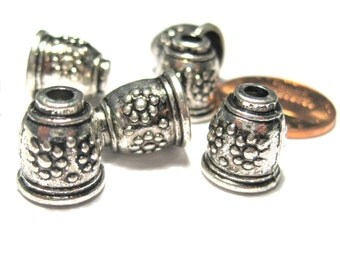 10pcs Antique Silver Cone Bead Caps End Caps Tassel Caps Kumihimo Caps