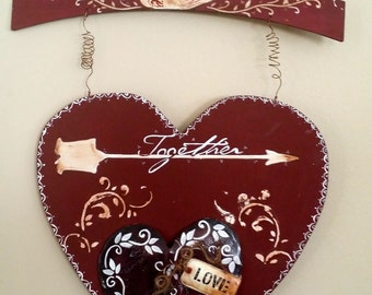 Heart Shape, Valentines Day Wall Decor ,Burgundy Wooden Together Text