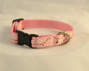 "Pink Cherry Blossom Breakaway 3/8"" Cat Collar"