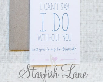 I Do Bridesmaid Card Pink with envelope