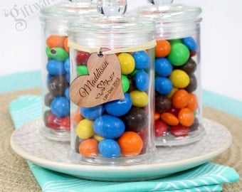 Glass Lolly Jar with Personalised Wooden Gift Tag - Wedding Favour - QTY 25, 50, 75, 100, 150 + FREE SHIPPING
