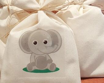 Muslin Favor Bag, Baby Elephant, Fabric Bag, 5 x 8, Birthday Favor Bag, Baby Shower Favor Bag, Choose Color