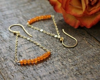 Genuine Carnelian Gemstone Earrings. Gold Gemstone Earrings. Gold Trapeze Earrings. Modern Gemstone Earrings.