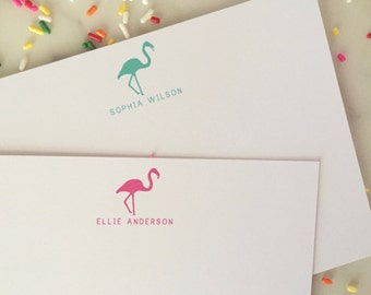 Flamingo Stationary Thank You Notes - Girls Personalized Stationery Set of 20 Flat Note Cards