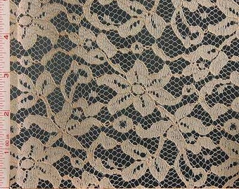 """Peach Orange Flower Embroidery Lace Fabric Polyester 58-60"""""""
