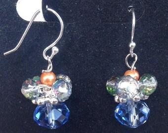 Earrings Hand-made Dangley Blue and Orange Beads for Sensitive Ears