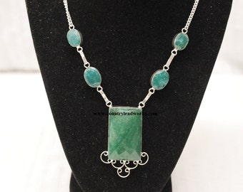 Vintage Jade & Sterling Silver Necklace and Earring Set - 20 Inch - Free Shipping