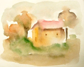 House Painting, Watercolor House painting, Small painting, Modern Art, House Art, Gift Idea