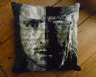Embroidered cushion with a double portrait of Breaking Bad characters Walter White and Jesse Pinkman