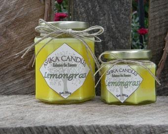 Small LEMONGRASS Candles! lemon grass soy candle, lemonhead, citrus candle, clean candle, aromatherapy, lemon scent, gift idea, lemon candle