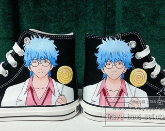 Anime Shoes GinTama Hand Painted Shoes painted on local  brand High Top White Canvas for Men Women
