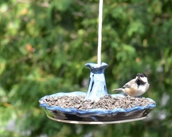 Pottery Bird Feeder - Midnight Ice Glaze