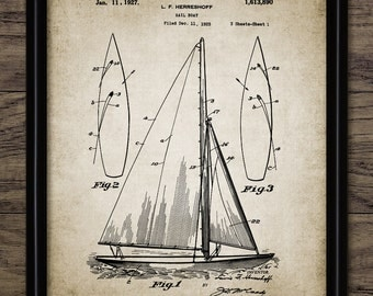 Sailboat Patent Print - Yacht Design - Sailing Ship Invention - Vintage Ship - Single Print #1000 - INSTANT DOWNLOAD