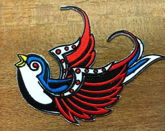 New Bird Swallow Swiftlet Dove Tattoo Embroidered iron on Patch#01