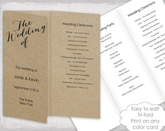 "Wedding programs instant download template Trifold calligraphy ""Bombshell"" DIY printable order of ceremony / order of day YOU EDIT in Word"