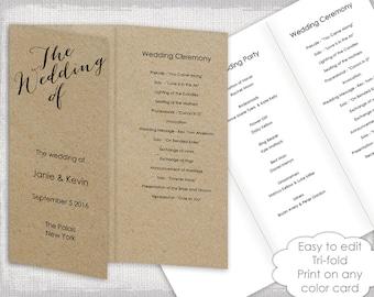 trifold wedding program templates