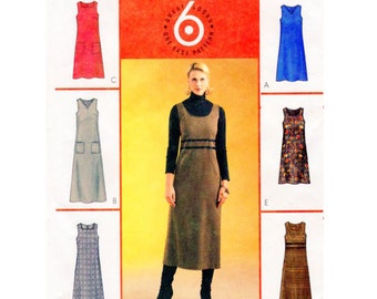 McCalls 4237 Multi Style Jumper Dress Sewing Pattern Semi Fitted V, Round or Square Neckline Detail Trims Sz 14-16-18-20 UNCUT Factory Fold