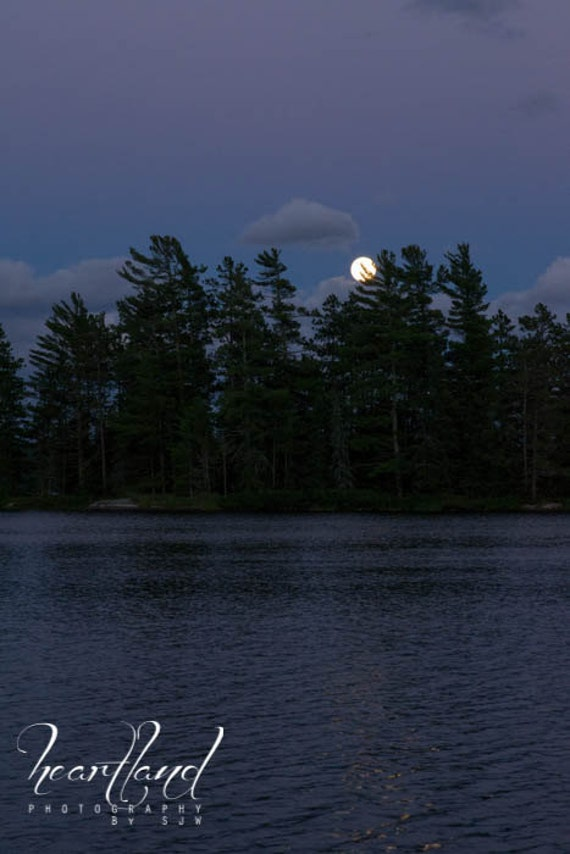 Large Print BWCA, Boundary Waters, Moonlight, Lake Photography, Night Photo, Blue Photography, Night Print, Moon rise, Large Wall Art