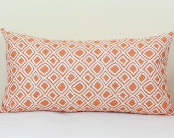 Duralee orange & creme lumbar pillow cover 12x16 lumbar pillow Orange white lumbar pillow