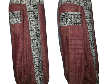 Rough cotton harem pants in a natural Red, Black, Gray, Green and Navy.