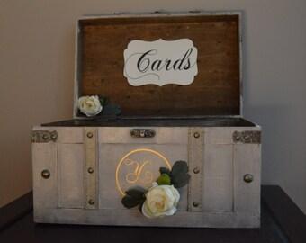 Vintage Wedding Card Box, Rustic Wedding Card Box, Large Vintage Trunk Wedding Box with Custom Wedding Initial A1A