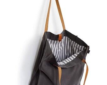 Canvas shopper, Washed Canvas Bag Dark Grey .
