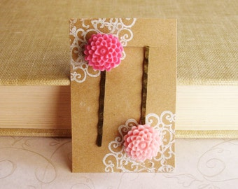 Pair of Fuschia and Peony Pink Chrysanthemum Bobby Pins, Pink Flower Hair Pins in Antique Bronze, Spring Hair Accessories