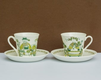 One Pair of vintage Turi Design Market cup and saucer, made in Norway by Figgjo Flint