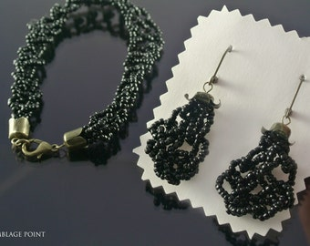 Black jewelry set with beads