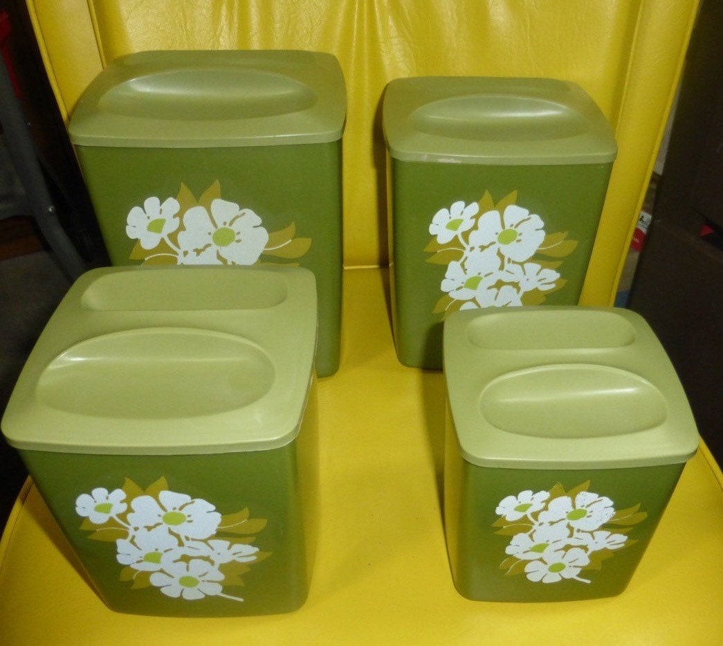 RETRO 70s Green Kitchen Containers/Canisters/Jars 4 W/Lids