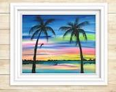 Sunset Wall Art - Sunset Painting - Sunset Art - Kiteboard - Original Painting - Beach Decor - Beach Painting - Beach Art - Acrylic Painting