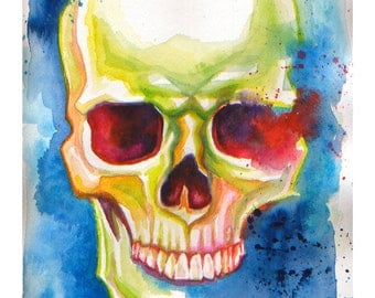 Colorful Skull (Blue) PRINT