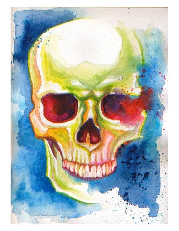 Colorful Skull (Blue) PRINT