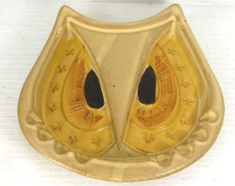 Vintage 1960s Scarpino Owl Face Ashtray Pacific Stoneware