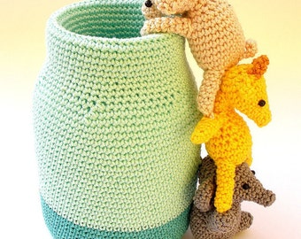 Crochet pen holder, cute desk accessories, animals pencil holder, crochet office decor