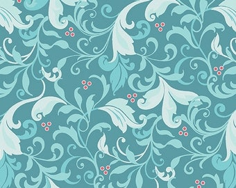 1/2 yard Feathers and Flourishes  Scroll Turquoise 1062-54 from Contempo of  Benartex designed by Amanda Murphy