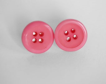 Tickle Me Pink Button Earrings