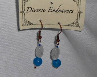 Sapphire, Rock Crystal and Copper Earrings