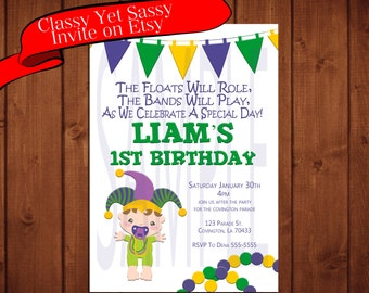 Mardi Gras Kids Birthday Party Invitation